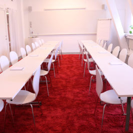 Himmelriket meeting room in board room seating set up.