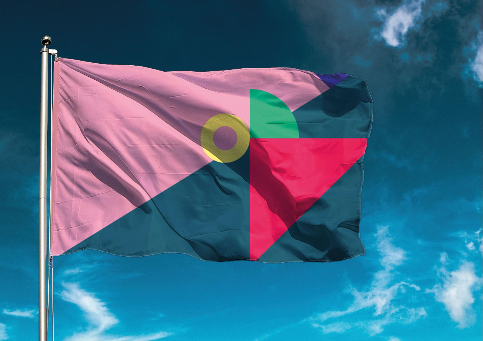 Bild på de olika färgerna Subtopia har tillgång till i en mockup på en flagga.